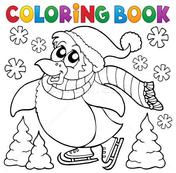 Coloring book happy skating penguin Stock photo © clairev