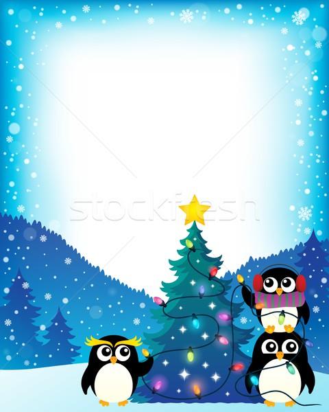 Autour arbre de noël arbre neige cadre oiseau Photo stock © clairev