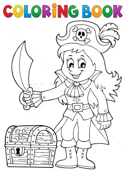 Coloring book pirate girl theme 1 Stock photo © clairev
