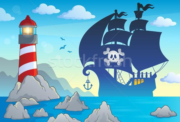 Stockfoto: Piraat · silhouet · zee · kunst · rock · schedel
