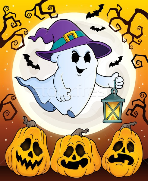 Ghost with hat and lantern theme 5 Stock photo © clairev