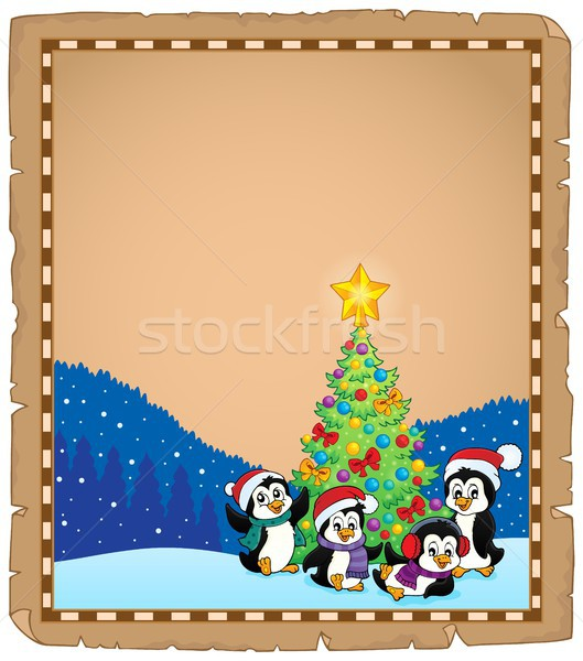 Christmas tree and penguins parchment 2 Stock photo © clairev