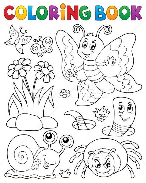Livro para colorir pequeno animais flor feliz natureza Foto stock © clairev