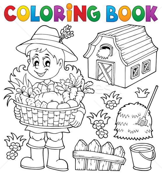 Boyama Kitabı Kadın çiftçi Kitap Mutlu Meyve Vektör