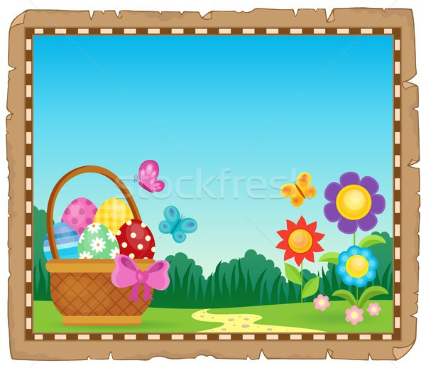Parchment with Easter basket theme 1 Stock photo © clairev