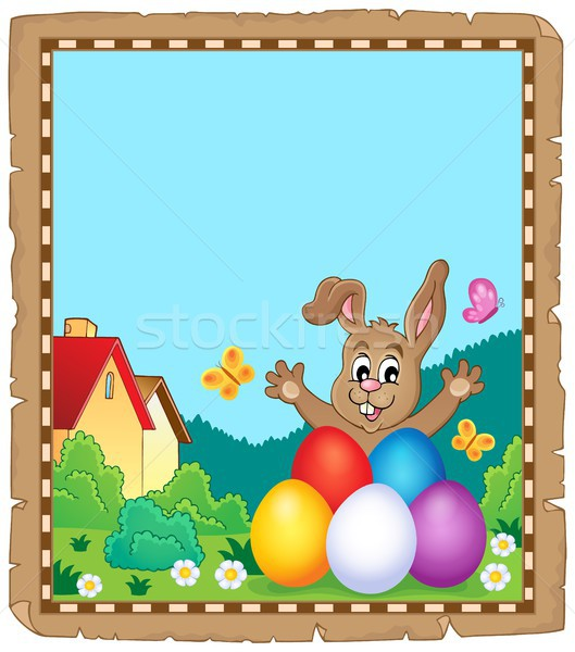 Pergamino Conejo de Pascua tema papel conejo huevo Foto stock © clairev