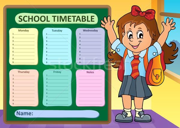Heti iskola időbeosztás terv gyermek diák Stock fotó © clairev