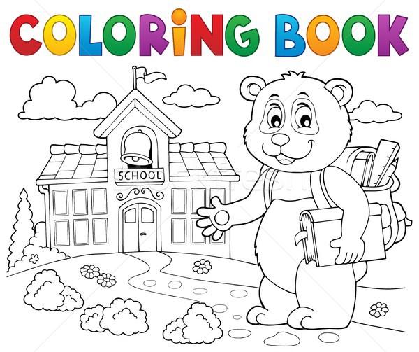 Boyama kitabı okul panda kitap sanat çizim Stok fotoğraf © clairev