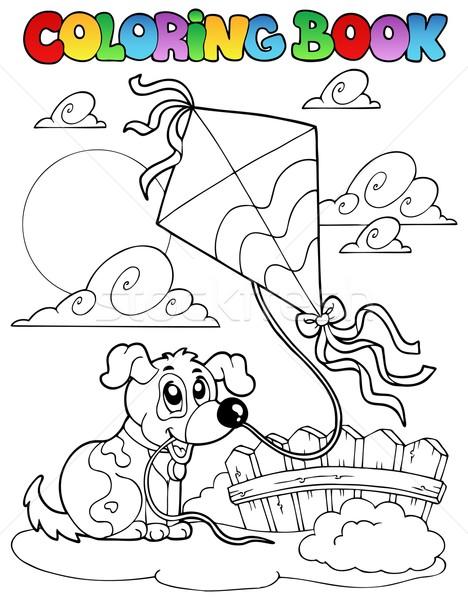 Boyama Kitabı Köpek Uçurtma Gökyüzü Kâğıt Kitap Vektör