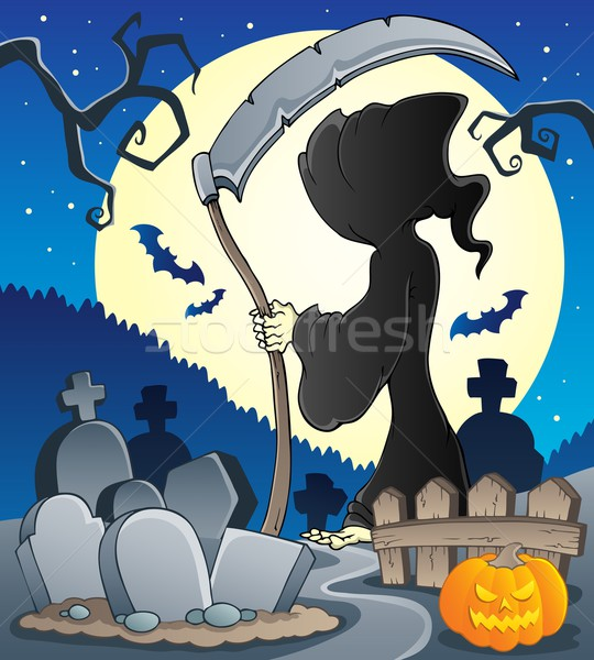 Grimmig afbeelding maan nacht angst cartoon Stockfoto © clairev
