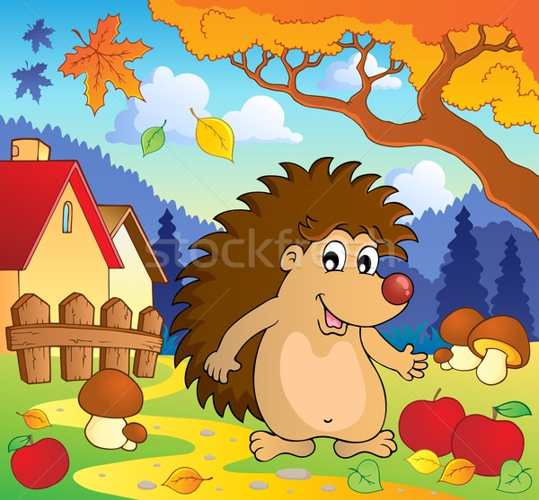 ősz jelenet sündisznó mosoly levél levelek Stock fotó © clairev