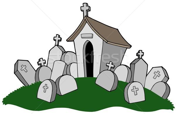 Cmentarz grób projektu rock kamienie grobu Zdjęcia stock © clairev
