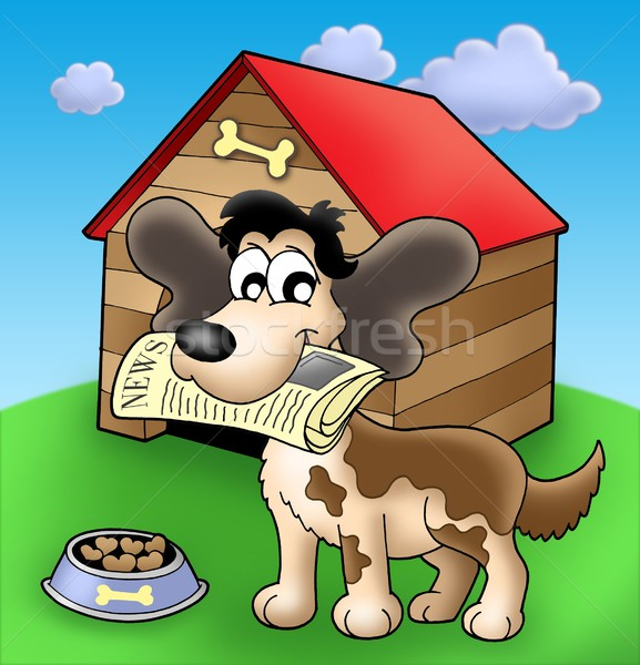 Dog with news in front of kennel Stock photo © clairev