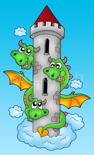 Three headed dragon on sky Stock photo © clairev