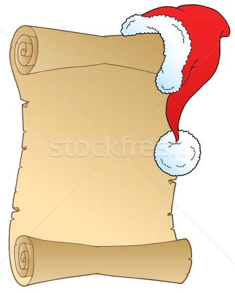 Scroll with Christmas hat Stock photo © clairev