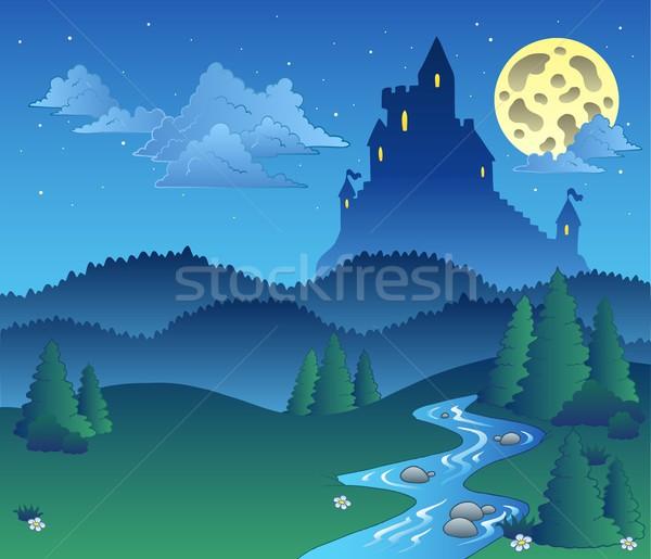 Cuento de hadas paisaje noche agua árbol madera Foto stock © clairev