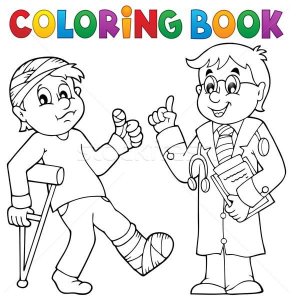 Boyama Kitabı Hasta Doktor Kitap Tıbbi Boya Vektör