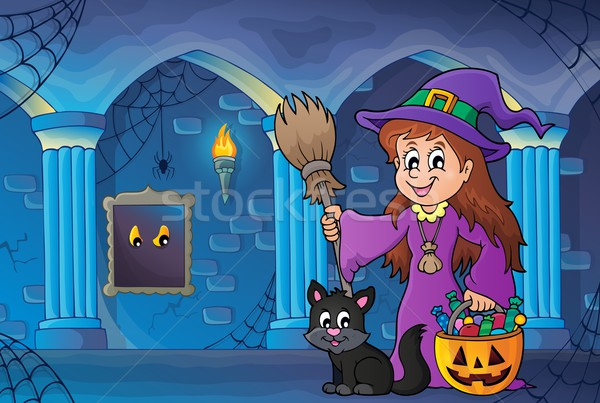 Cute witch and cat in haunted castle Stock photo © clairev