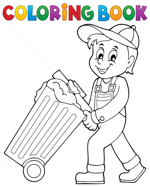 Coloring book garbage collector theme 1 Stock photo © clairev