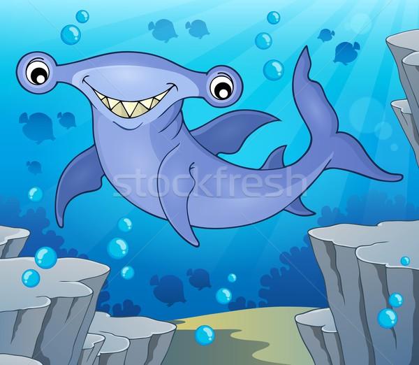 Tubarão imagem olho olhos mar pedra Foto stock © clairev