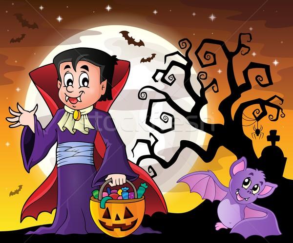 Halloween vampire image ciel nuit bonbons Photo stock © clairev