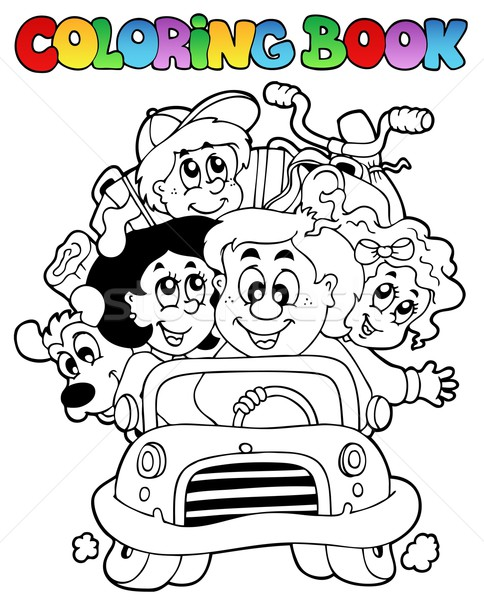 Stock photo: Coloring book with family in car