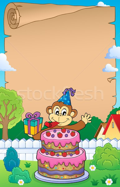 Parchment with cake and party monkey Stock photo © clairev