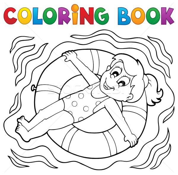 Libro para colorear agua deporte nina sonrisa libro Foto stock © clairev