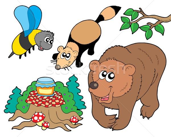 Bos dieren collectie boom natuur blad Stockfoto © clairev