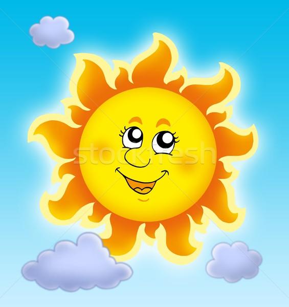Cute lata słońce Błękitne niebo kolor ilustracja Zdjęcia stock © clairev