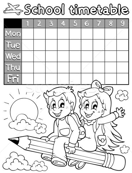 Coloring book school timetable 3 vector illustration © Klara