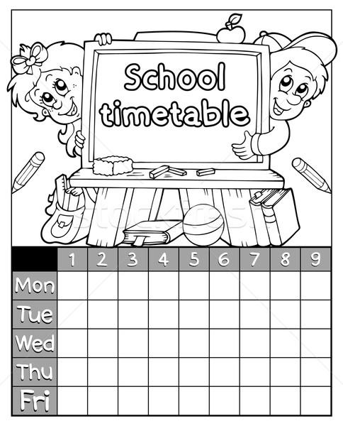 Livro para colorir horário tópico crianças livro escolas Foto stock © clairev