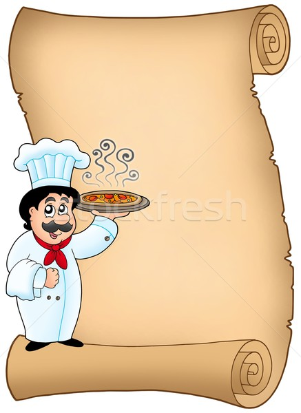 Scroll with chef holding pizza Stock photo © clairev