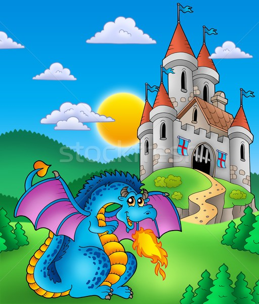 Stock photo: Big blue dragon with medieval castle