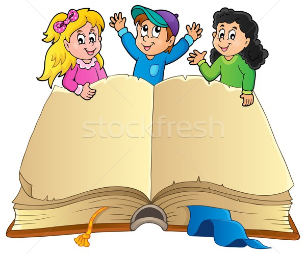 Stock photo: Open book with happy kids