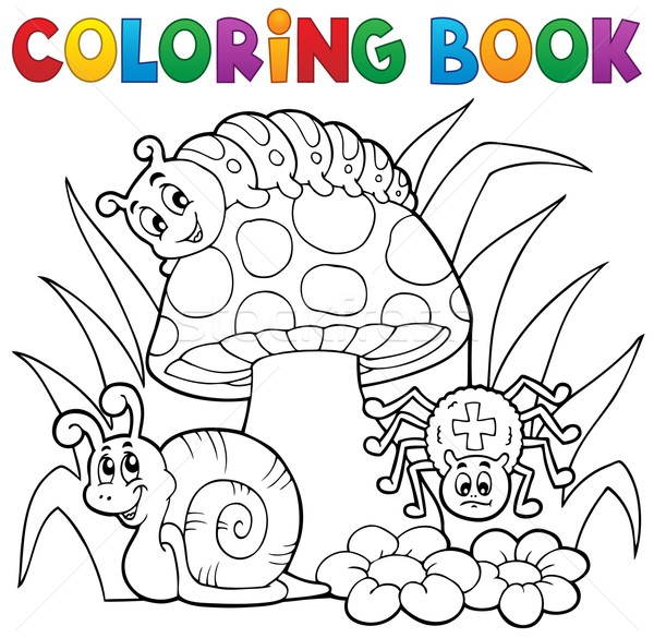 Coloring book toadstool with animals Stock photo © clairev