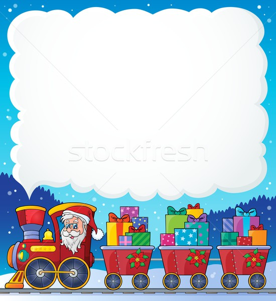 Photo stock: Noël · train · image · visage · neige · cadeau