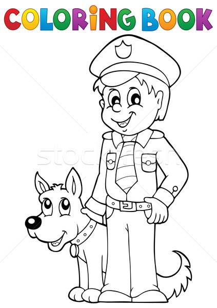 Kifestőkönyv rendőr őrkutya kutya könyv férfi Stock fotó © clairev