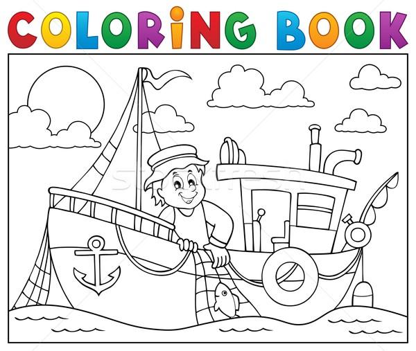 Kleurboek vissersboot water boek vis werk Stockfoto © clairev
