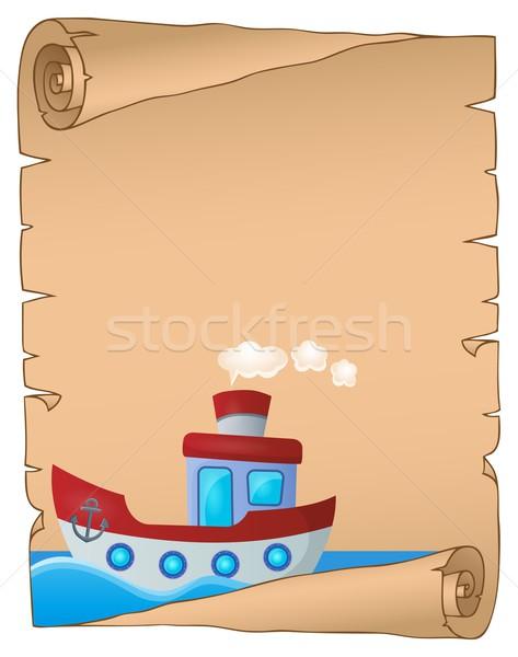 Pergamen tengerészeti csónak víz tenger művészet Stock fotó © clairev