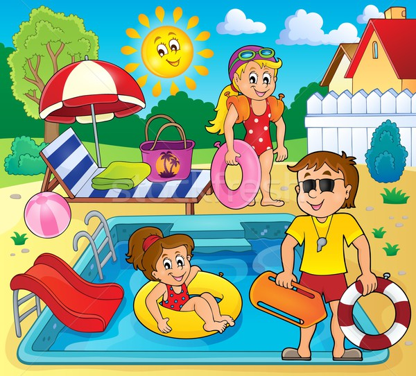 Stock photo: Children and life guard by pool