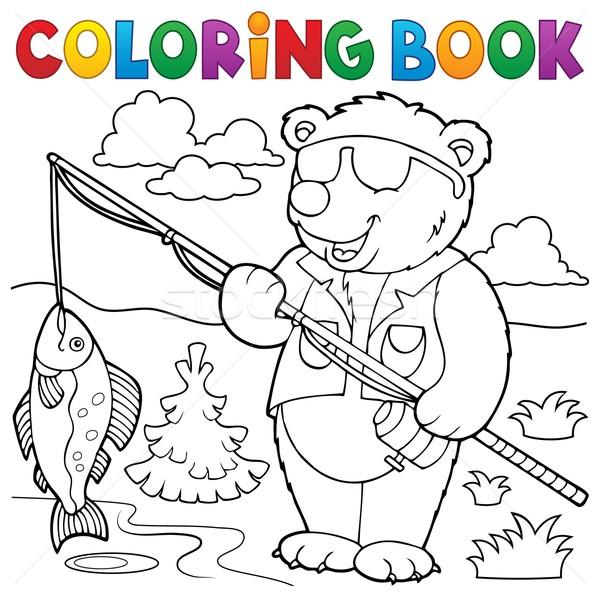 Boyama kitabı ayı balıkçı kitap balık doğa Stok fotoğraf © clairev