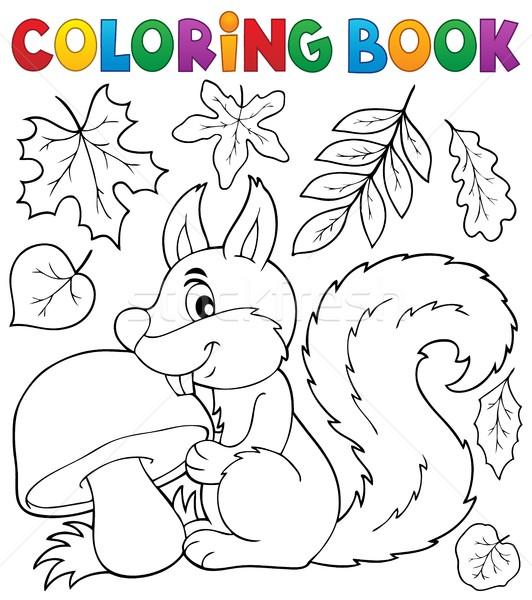 Boyama kitabı sincap kitap yaprak boya yaprakları Stok fotoğraf © clairev