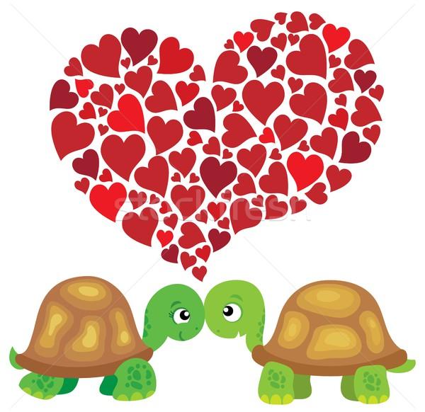 Valentine kaplumbağalar görüntü sevmek kalp hayvanlar Stok fotoğraf © clairev