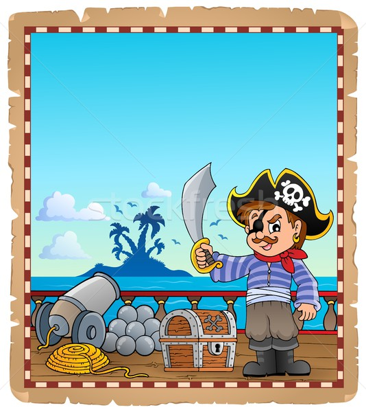 Parchment with pirate boy on ship Stock photo © clairev