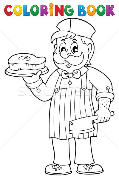 Coloring book butcher theme 1 Stock photo © clairev