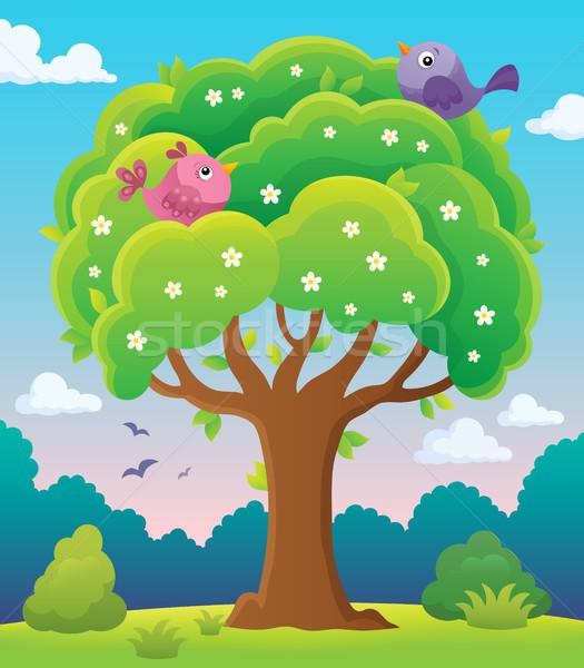весна дерево тема изображение птиц животные Сток-фото © clairev