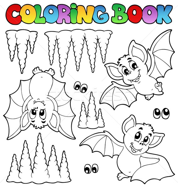 Stock photo: Coloring book with bats
