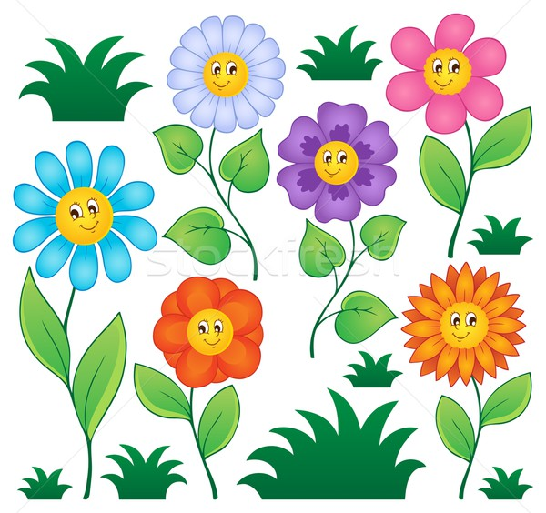 Cartoon fiori raccolta natura foglia arte Foto d'archivio © clairev