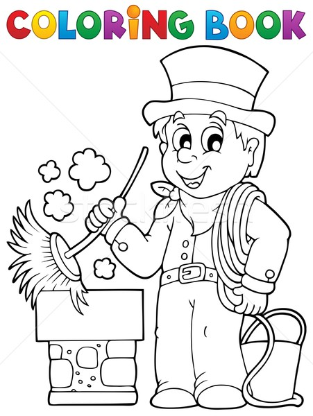 Coloring book chimney sweeper Stock photo © clairev